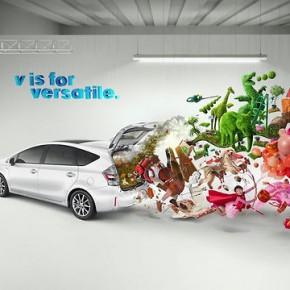 Kampania auta Toyota Prius od tyłu