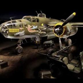 Malowanie światłem bombowca B-25 i postprodukcja w photoshopie